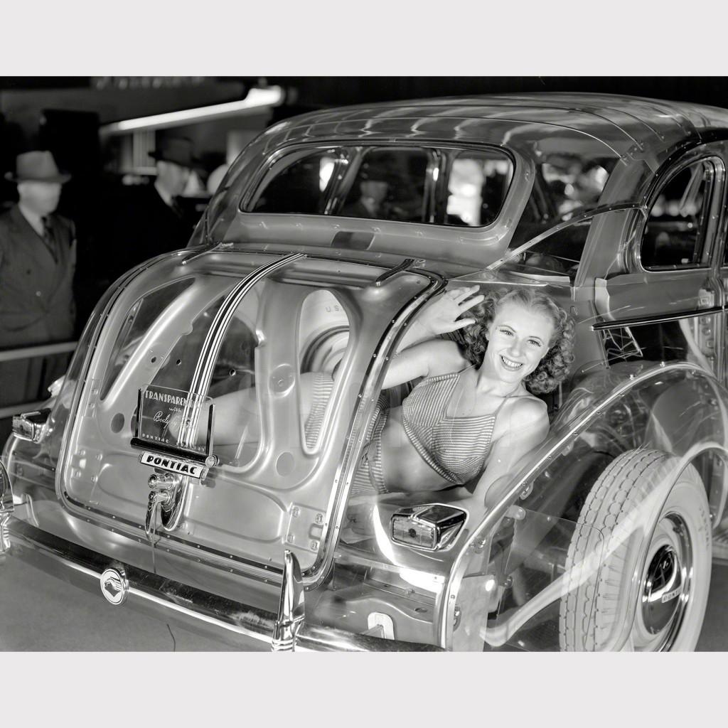 eb 2015 - 8x10 filmneg - 6-11-1940 - girl in trunk of transparent Pontiac