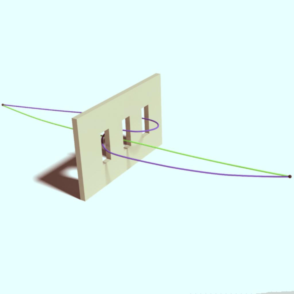 Пример «неклассической» траектории (фиолетового цвета) в эксперименте с тремя щелями