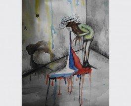 """""""Тошнит от России"""": Сеть взорвала антироссийская картина 15-летней художницы из Луганщины"""